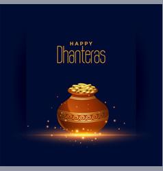 Happy dhanteras festival card with gold coin pot vector