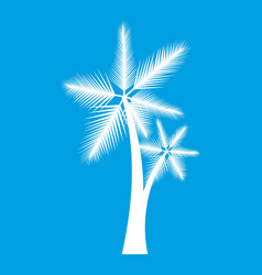 High palm tree icon white vector