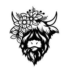 highland cow lady head design on white background vector image