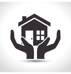 House insurance house hand protection design vector