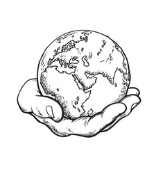 human hand holding globe earth in mans palm save vector image