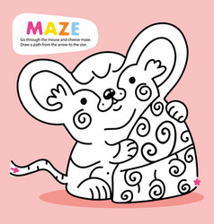 Kid logic maze game puzzle mouse order printable vector