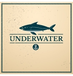 Label underwater fish vector image vector image