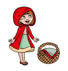 Little red riding hood on white background cute vector