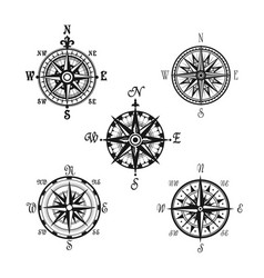 Marine or nautical compass navigation icons vector
