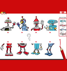 Match halves of pictures with comic robots vector