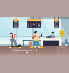 mix race passengers in protective masks standing vector image