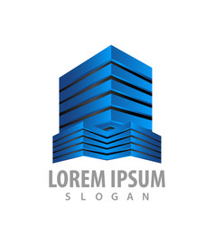 modern 3d building estate logo concept design vector image