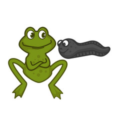 mother green frog and funny baby tadpole with eyes vector image