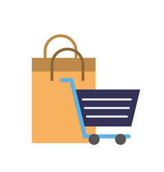 online shopping cart and paper bag vector image