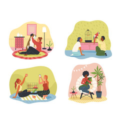 people at home with their pets happy vector image