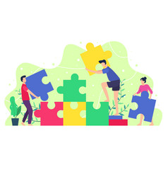 people composing a puzzle vector image
