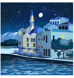 picturesque quay at night vector image