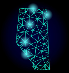 Polygonal 2d mesh map of alberta province with vector