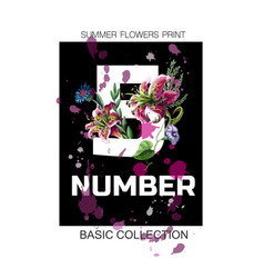 print for t-shirt with slogan number and lilies vector image
