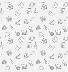 real estate seamless pattern in thin line vector image