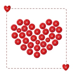 Red heart from buttons vector image