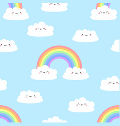 seamless cartoon pattern with cute clouds vector image