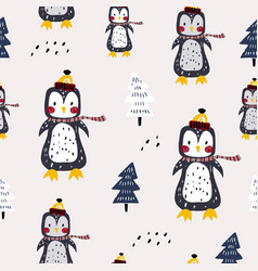 seamless winter pattern with cute penguins vector image