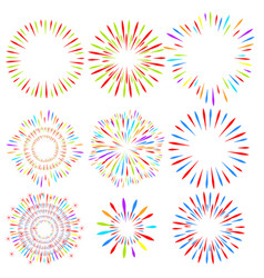Selection of fireworks holiday elements vector