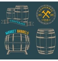 set and logos cooperage workshops vector image