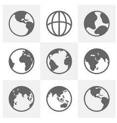 set earth planet globe logo design earth vector image