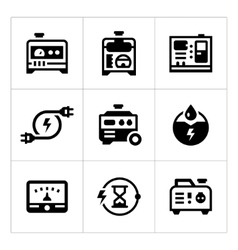 Set icons of electrical generator vector image