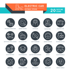 Set line icons electric car vector