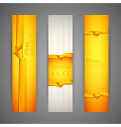 set of banners with yellow ribbons vector image