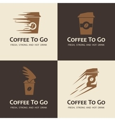 Set of coffee to go labels vector