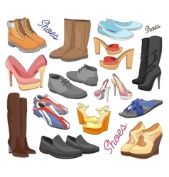 Set of different shoes vector