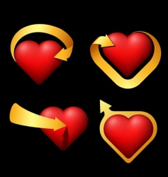 set of volume hearts with arrows vector image