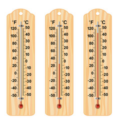 Set wooden thermometers vector