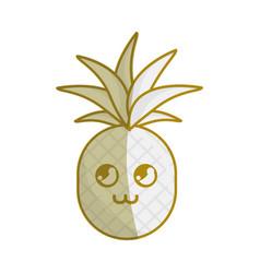silhouette kawaii cute thinking pineapple vector image