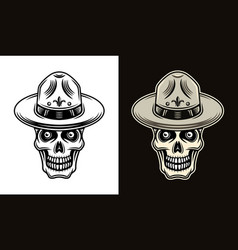 Skull boy scout in hat two styles vector