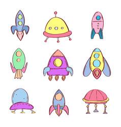 Space icons set cartoon vector
