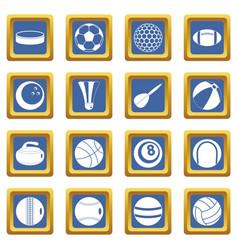 Sport balls icons set blue vector