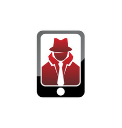 Spy detective guard phone vector