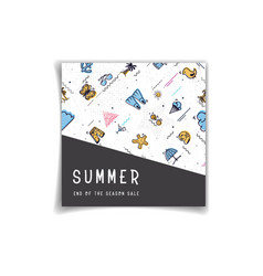summer sale banners decorate with memphis design vector image