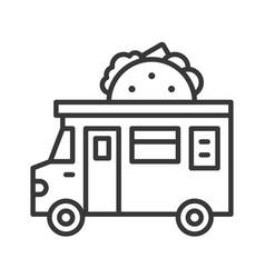 Taco truck food truck line style editable stroke vector