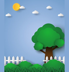 tree in green field with fence paper art style vector image vector image