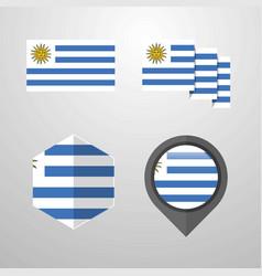 Uruguay flag design set vector