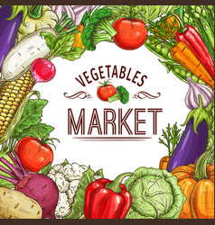Vegetable market poster with frame vector