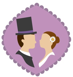 wedding silhouette 2 vector image