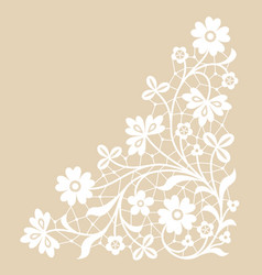 white lace corner vector image