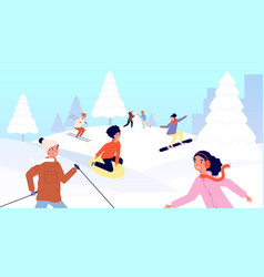winter kids vacations children sled happy snow vector image