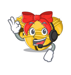 With headphone jingle bell on character table vector