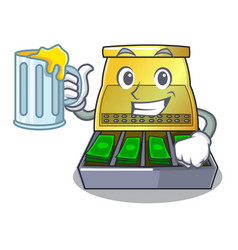 With juice cash register with lcd display cartoon vector