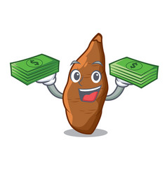 With money ripe cassava on the cartoon table vector
