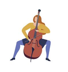 woman musician playing violoncello cartoon funny vector image